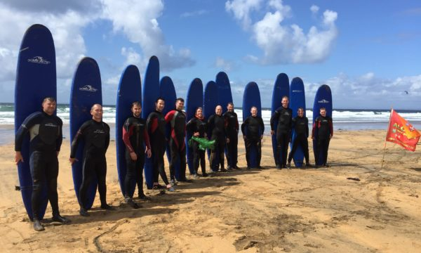 Stag and Hen party surfing at the closest surf beach to Galway